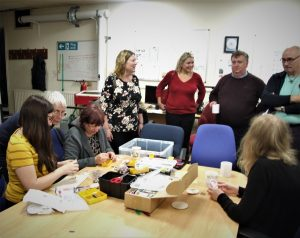 Making craft object on a Tuesday open evening at the Makerspace