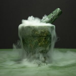 Pestle and dry ice